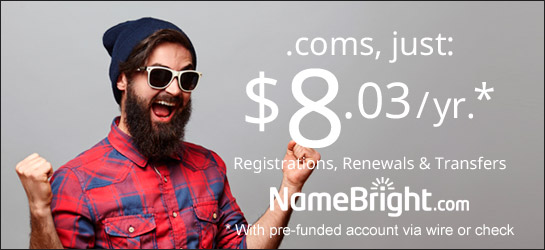Register .com domains at cost at NameBright
